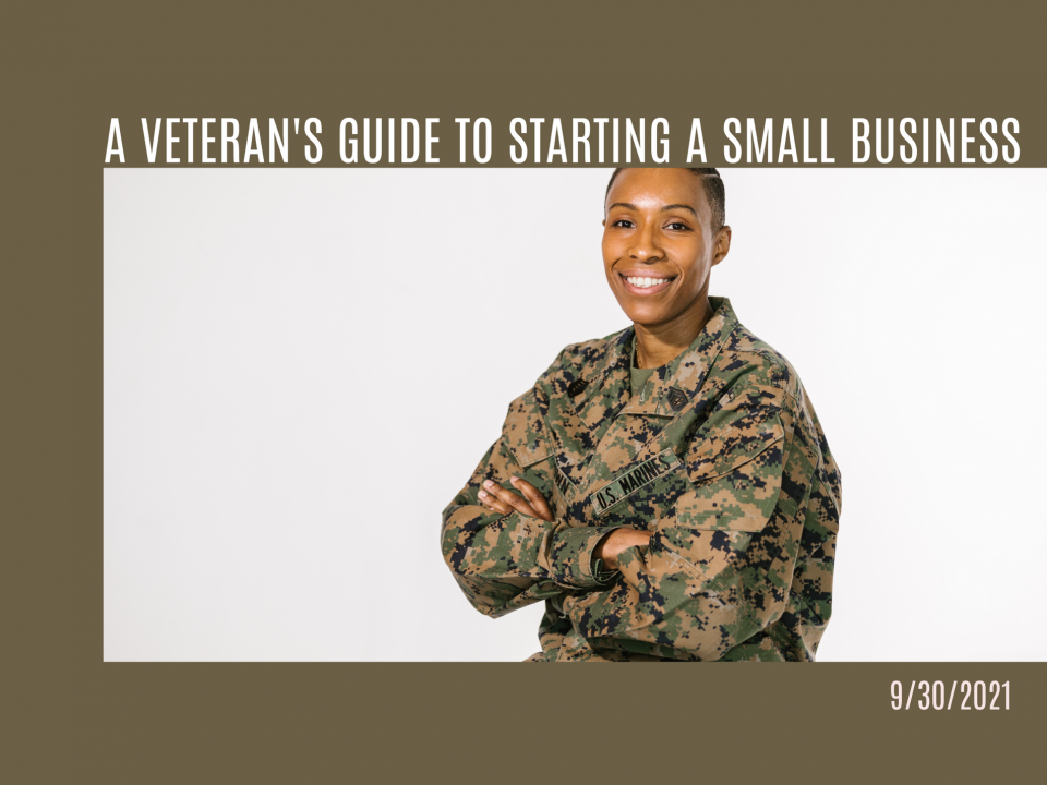 Veteran small business owner smiling in camo outfit.